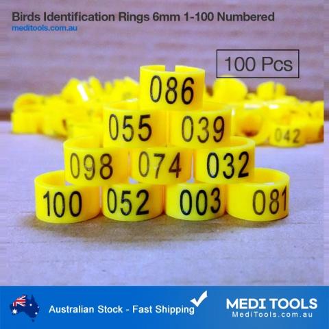 Birds Identification Leg Ring 10mm 1-100 numberd