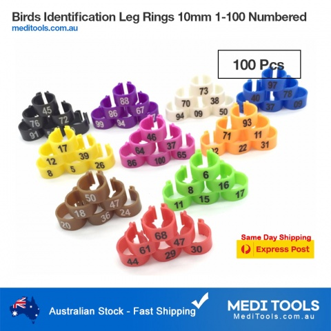 Birds Identification Leg Ring 14mm 1-100 numbered