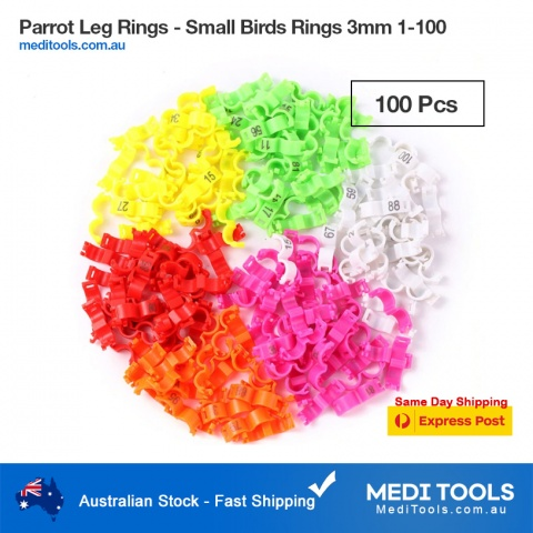 Parrots Identification Leg Rings 4mm 1-100 Numbered